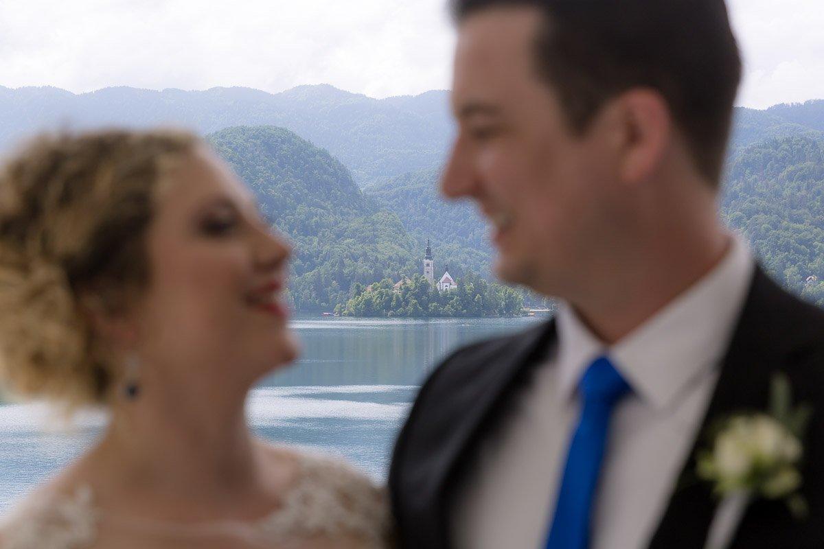 Couple eloping at Bled Lake